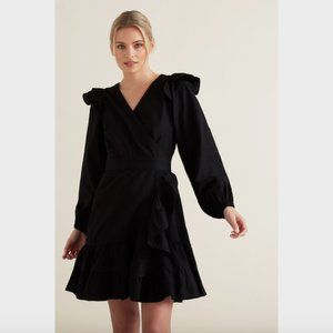 Seed Heritage Black Wrap Front Frill Dress 8